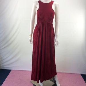 Long Sexy Sleeveless M Size Boho Pocket Maxi Dress